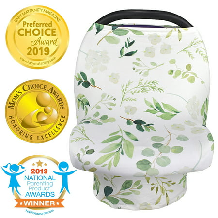 LNKOO Nursing Cover, Car Seat Canopy, Shopping Cart, High Chair, Stroller and Carseat Covers, Multi Use Breastfeeding Cover for Boys or Girls - Best Stretchy Infinity Scarf-Green