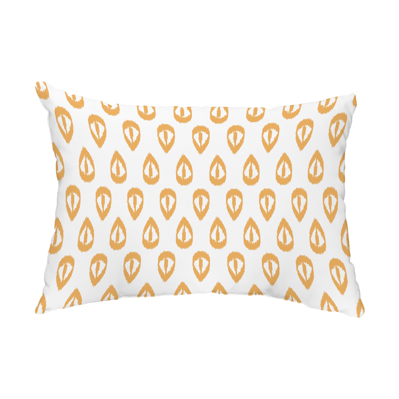 Ikat Tears 14x20 Inch Gold Decorative Ikat Outdoor Throw Pillow