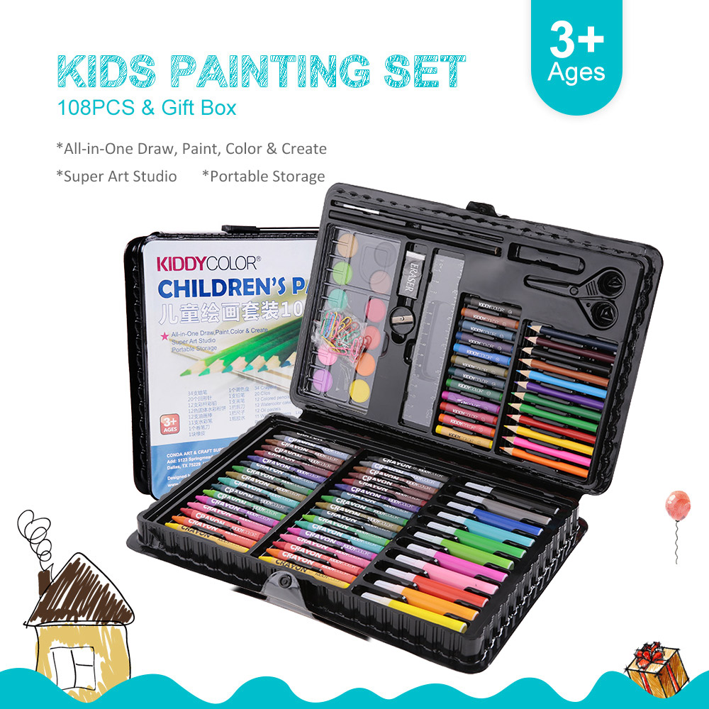 6pc//set Kids Children Candy Color Art Brush Watercolor Acrylic Oil Painting Kit