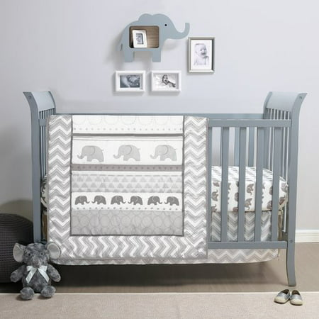 Satin Crib Bedding Set - Belle Elephant Walk 4 Piece Crib Bedding Set
