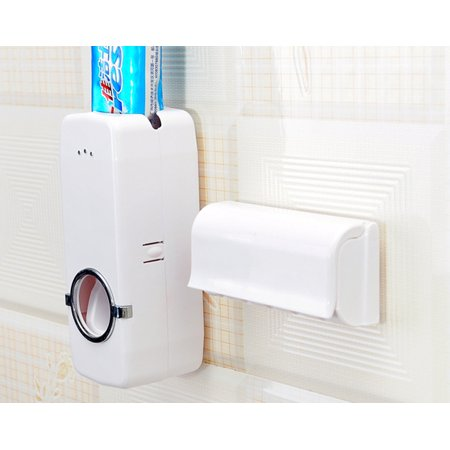Intbuying Toothpaste Dispenser + 5 Toothbrush Holder Set Wall Mount Stand US Seller #241019