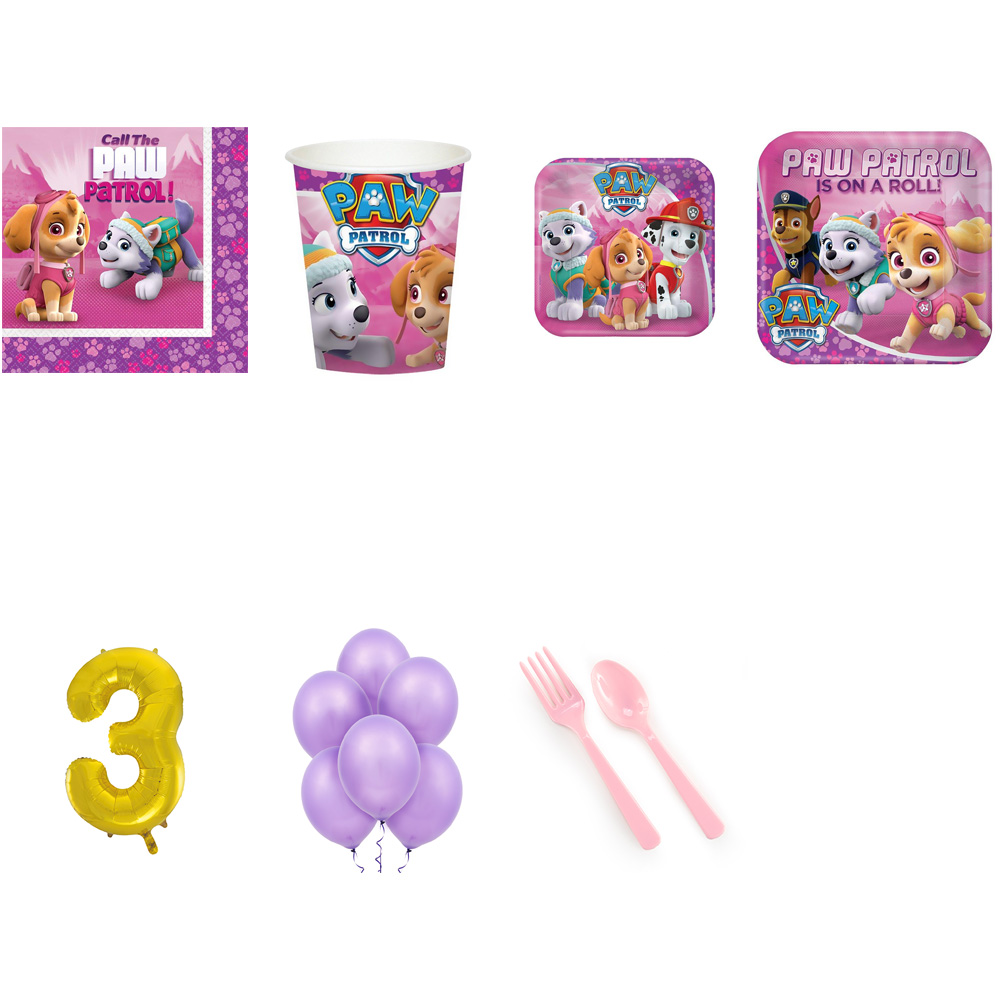 PAW PATROL PARTY SUPPLIES PARTY PACK FOR 32 WITH GOLD #3 BALLOON