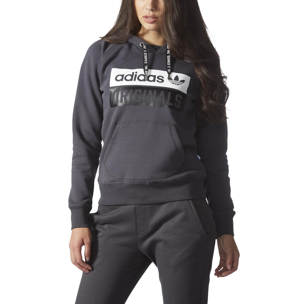 Adidas Originals Longsleeve Women's Hoodie Shadow Black/White/Black ay6631
