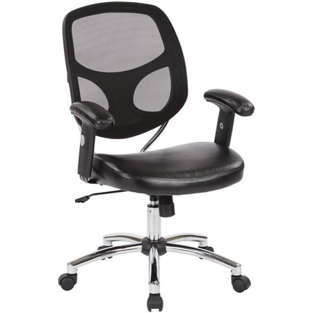 Office Star Screen Back Task Chair With Faux Leather Seat Adjustable Padded