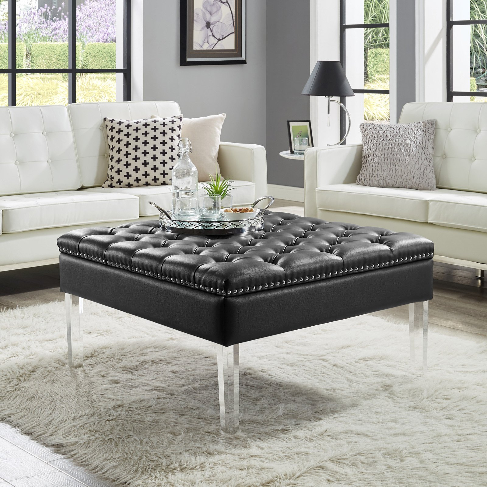 Inspired Home Kayla Square Faux Leather Coffee Table Ottoman   Walmart.com