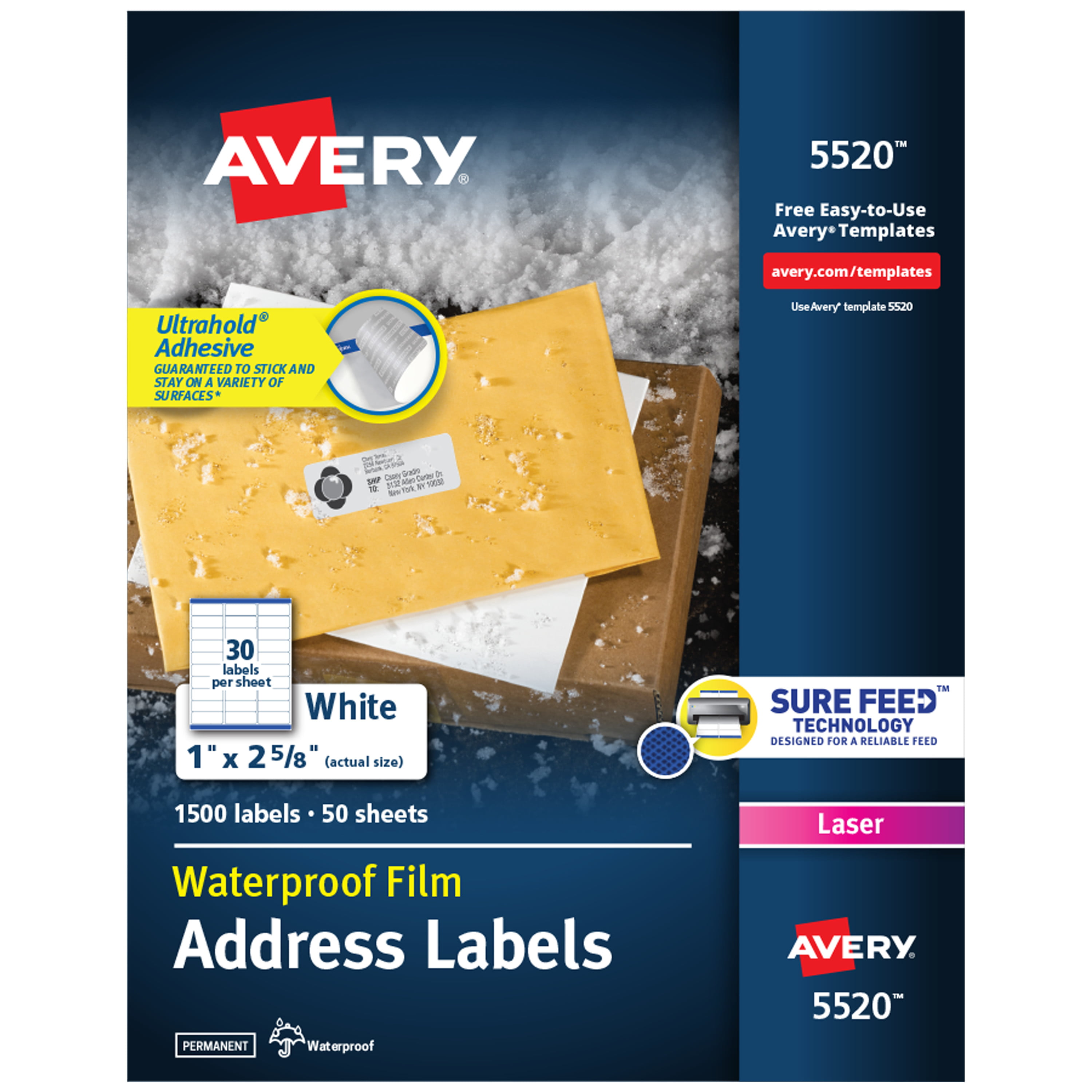 "Avery Waterproof Labels, Sure Feed, 1"" X 2-5/8"", 1,500"