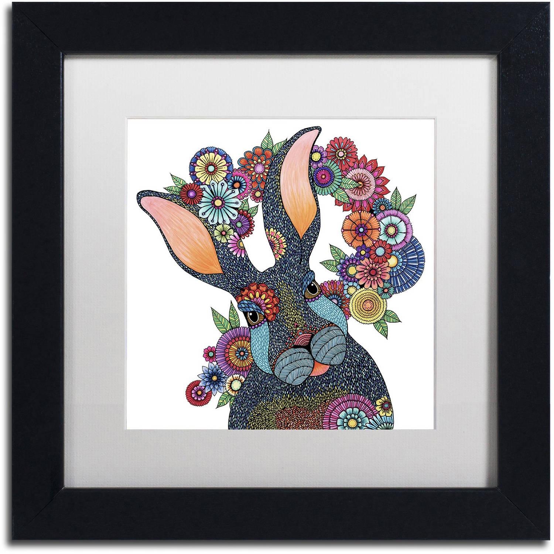 """Trademark Fine Art """"Mr. Rabbit"""" Canvas Art by Hello Angel, White Matte, Black Frame"""