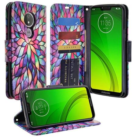 Motorola Moto G7 Power Case, Moto G7 Supra Case, Moto XT1955 Case [Kickstand] Cute Pu Leather Wallet Case ID & Credit Card Slot for Moto G7 Power - Rainbow covid 19 (Id Credit Card Cigarette Case coronavirus)