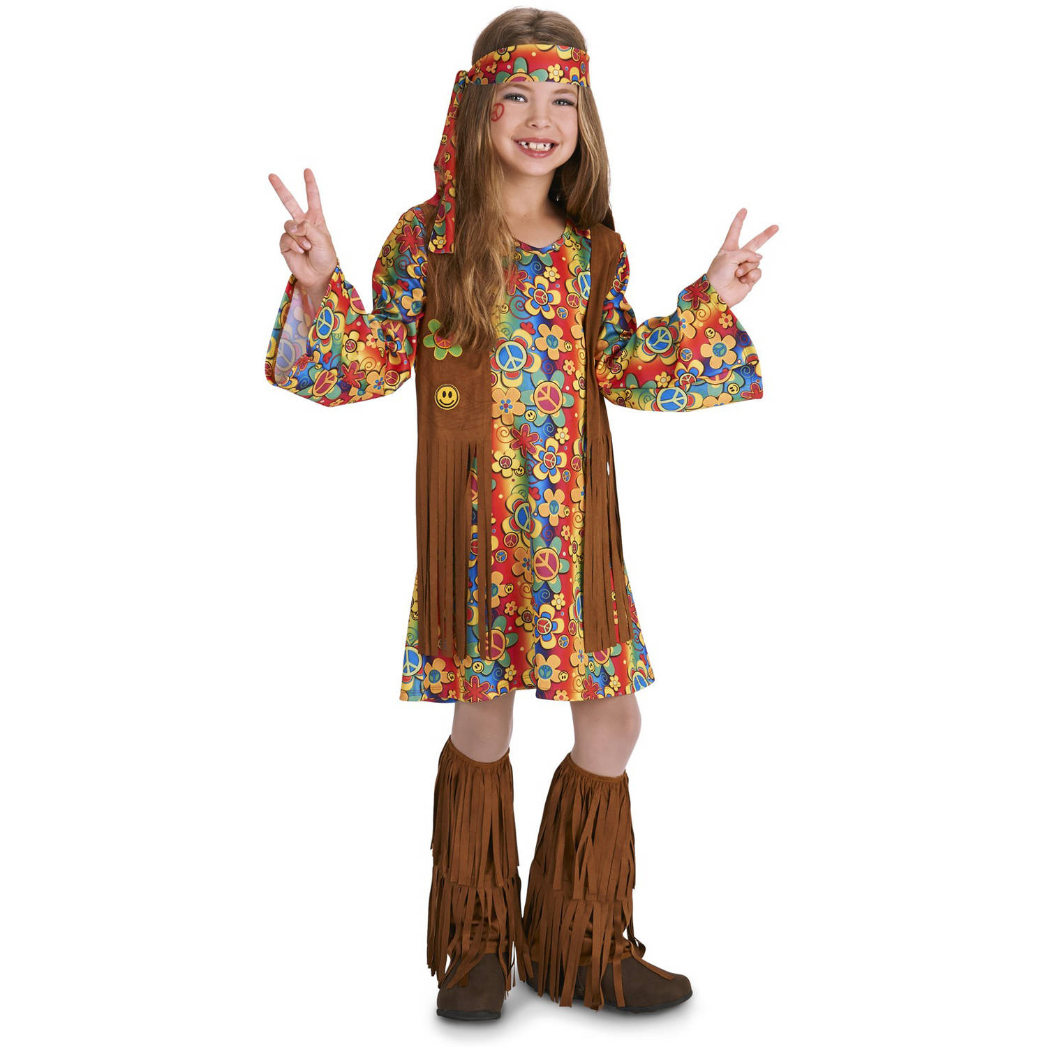 60 S Hippie With Fringe Child Halloween Costume Walmart Com