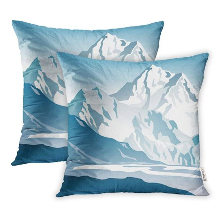 USART Snow Blue Mountains and Glacier Gradient Summit Ice Pillowcase Cushion Cases 18x18 inch Set of (Ice Blue Upholstery)