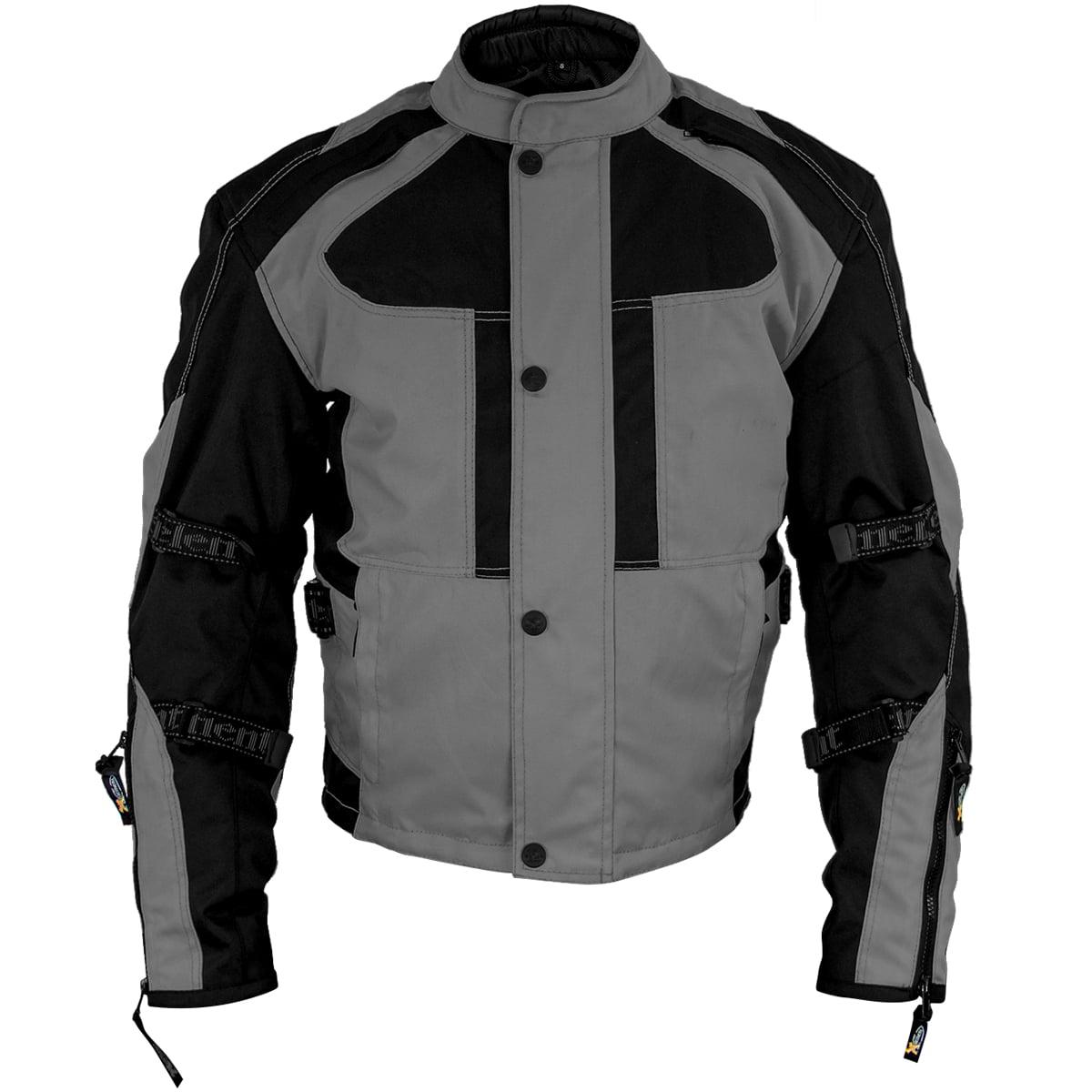 Xelement XS3005 Momentum Mens Black/Grey Tri-Tex Armored Motorcycle Jacket