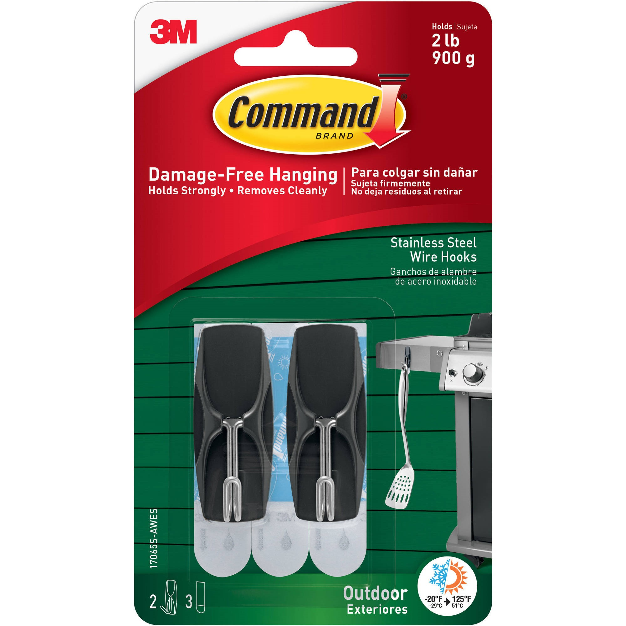 Command Outdoor Stainless Steel Wire Hooks with Foam Strips, Stainless Steel, Medium, 2 Hooks, 3 Strips/Pack