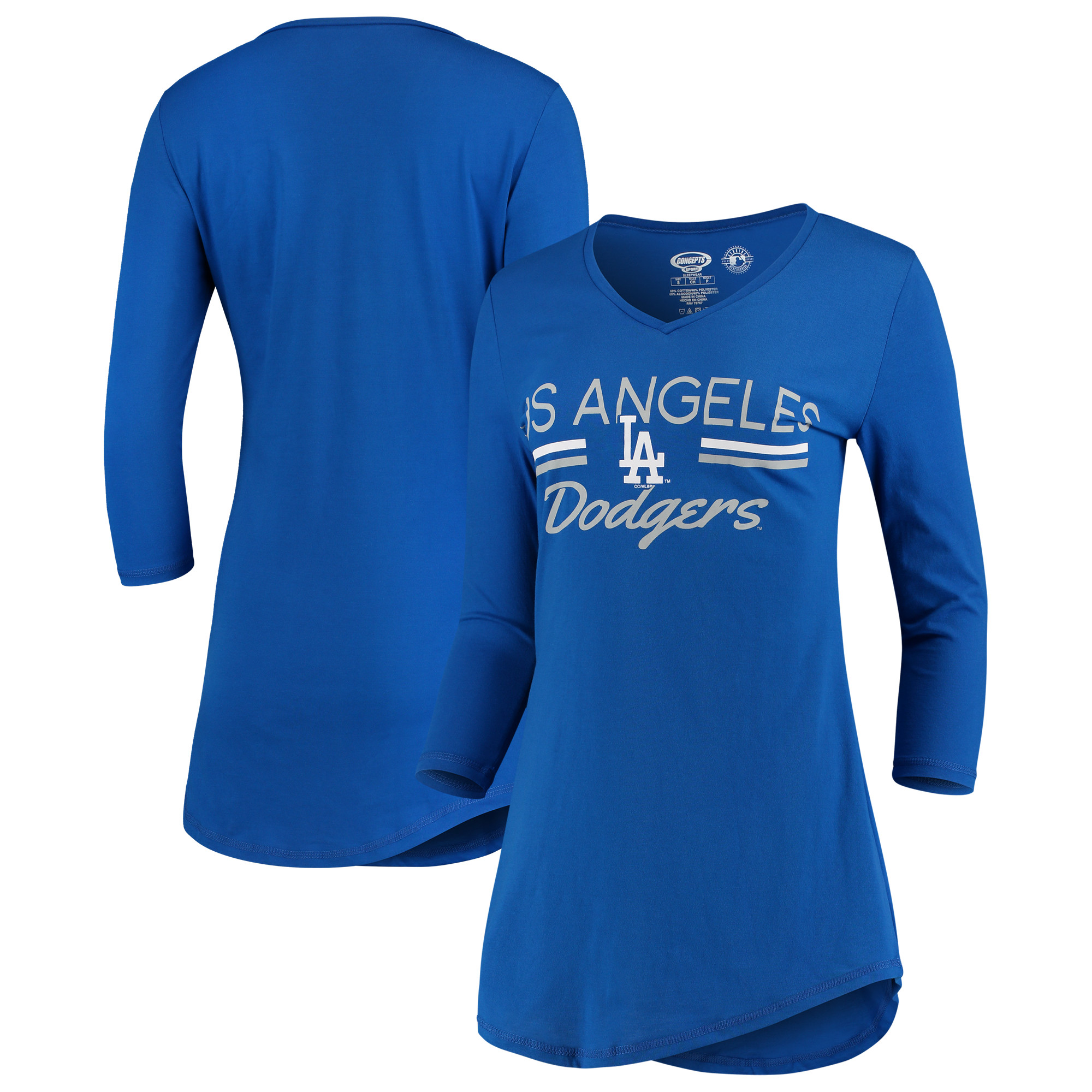 Los Angeles Dodgers Concepts Sport Women's Duo V-Neck Nightshirt - Royal