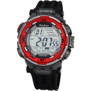 Sport Men's 40/8301RED Red and Silver-Tone Accented Black Resin Strap Chronograph Digital Watch