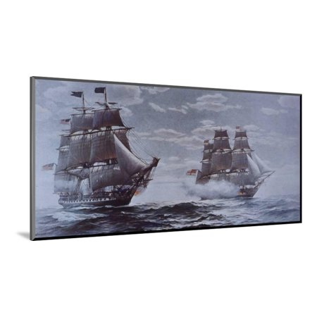 Nantucket Nautical Painting (USS Constitution and HMS Java War Ship Ocean Nautical Painting Wood Mounted Print Wall Art)
