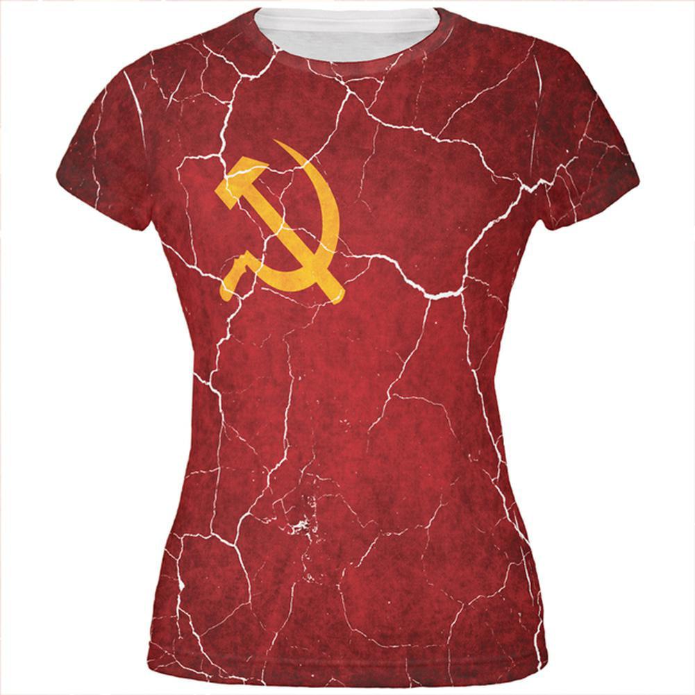 Distressed Soviet Union Flag All Over Juniors T Shirt