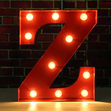 9inch Red Marquee Letter Lights LED Vintage Circus Style Alphabet Light Up Sign Wedding Party Decoration (Light Up Decorations)