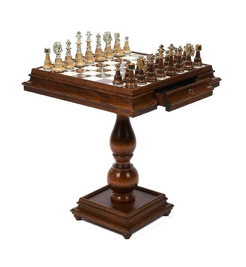 Italian Made Game Table w Inlaid Alabaster Top & 2 Drawers