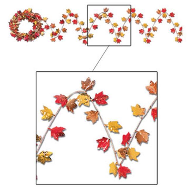 Beistle - 90660 - Gleam N Flex Autumn Leaf Garland- Pack of 12