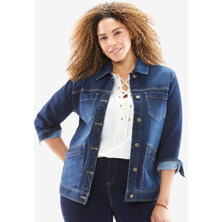 b766169c492 Woman Within - Woman Within Plus Size Denim Jacket - Walmart.com