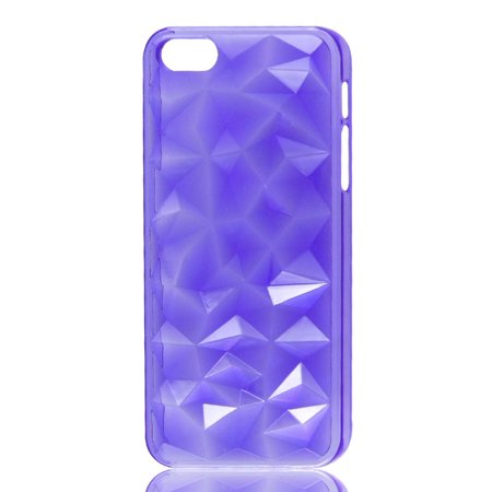 Unique Bargains 3D Water Cube Clear Purple Hard Back Case Cover Protector for iPhone 5 5G 5th