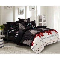 Swanson Beddings Christmas 5pc Bedding Set: Duvet Cover, Two Pillowcases and Two Pillow Shams (Queen)