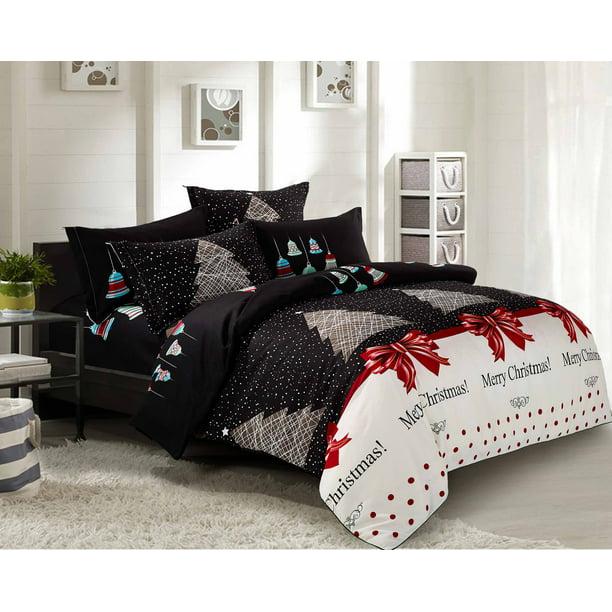 Swanson Beddings Christmas 5pc Bedding Set Duvet Cover Two Pillowcases And Two Pillow Shams Queen Walmart Com Walmart Com