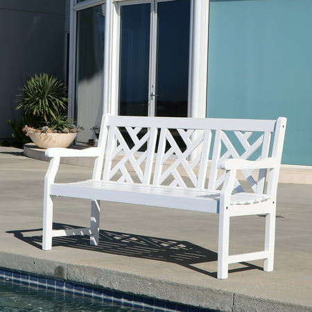 Bradley Outdoor Three Seater Wood Bench in White ()