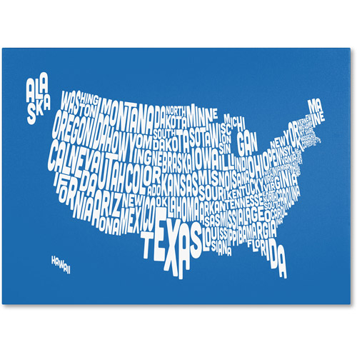 Trademark Art 'SUMMER-USA States Text Map' Canvas Art by Michael Tompsett