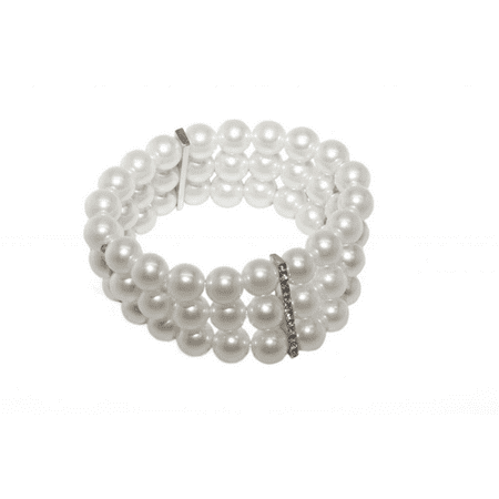 Lux Accessories White Multi Row Faux Pearl Rhinestone Stretch Bracelet