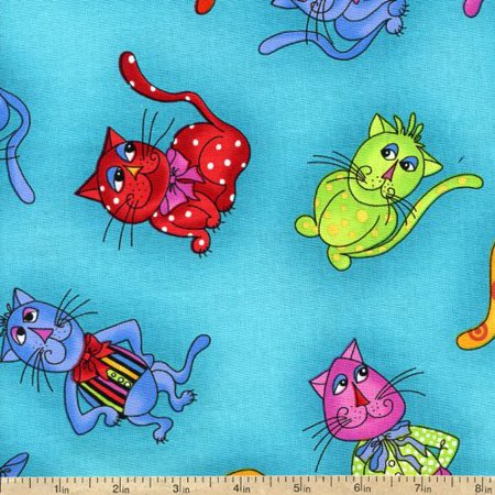 Loralie Designs~Cool Cats Tossed Cats on Aqua~Cotton Fabric Sewing and Quilting