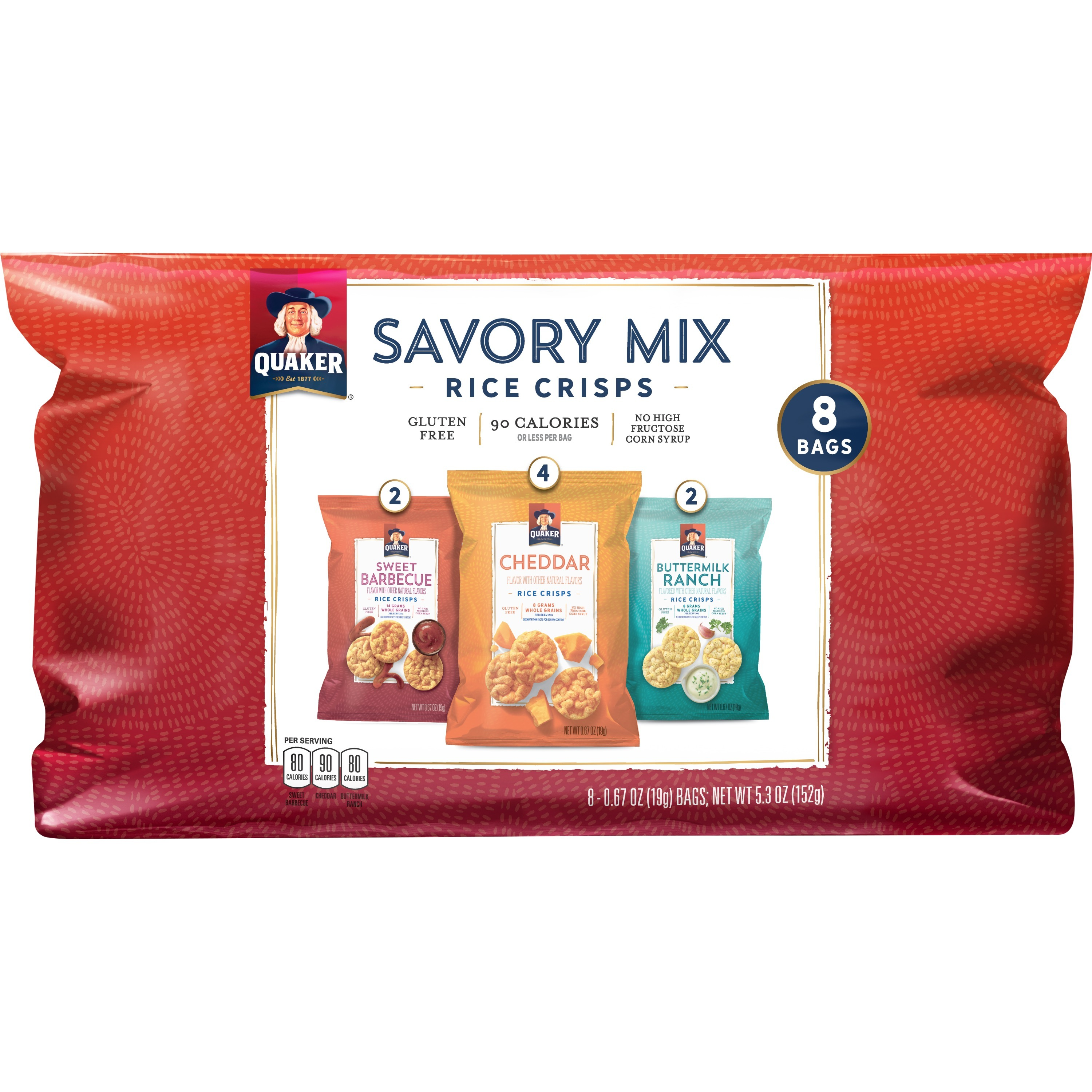 Quaker Rice Crisps, Savory Mix, 0.67 oz Bags, 8 Count (Packaging May Vary)