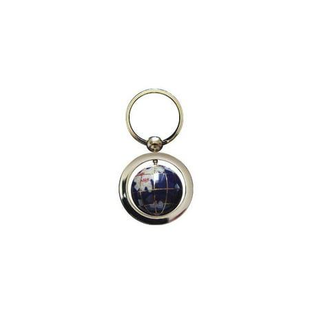 unique art 1-inch diameter blue lapis ocean gemstone world globe keychain with gold keyring ()