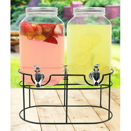 Halloween Beverage Dispenser (Estilo Glass Mason Jar Double Beverage Drink Dispenser On Metal Stand With Leak Free Spigot, 1 Gallon)
