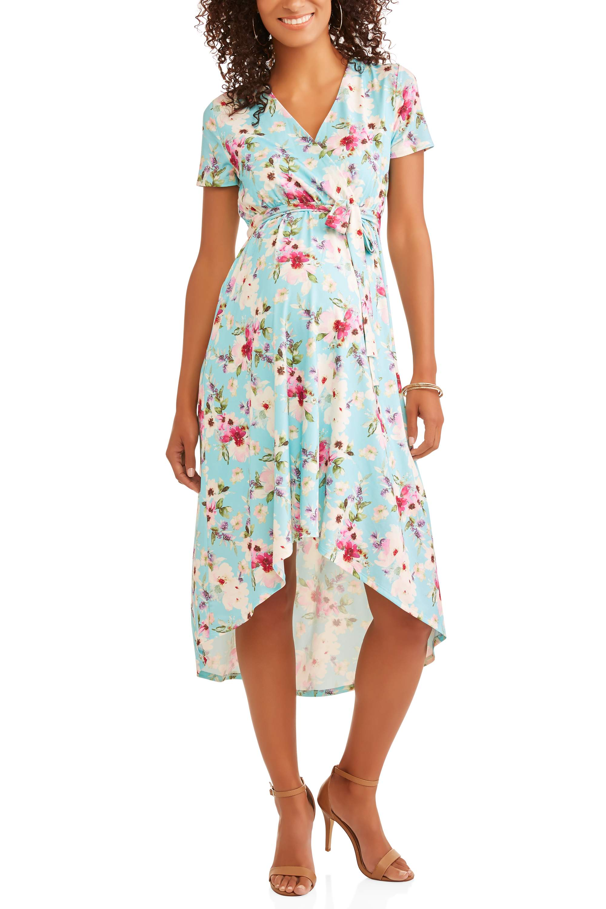 Maternity Elbow Sleeve Wrap Front Hi Low Dress by ES Sutton