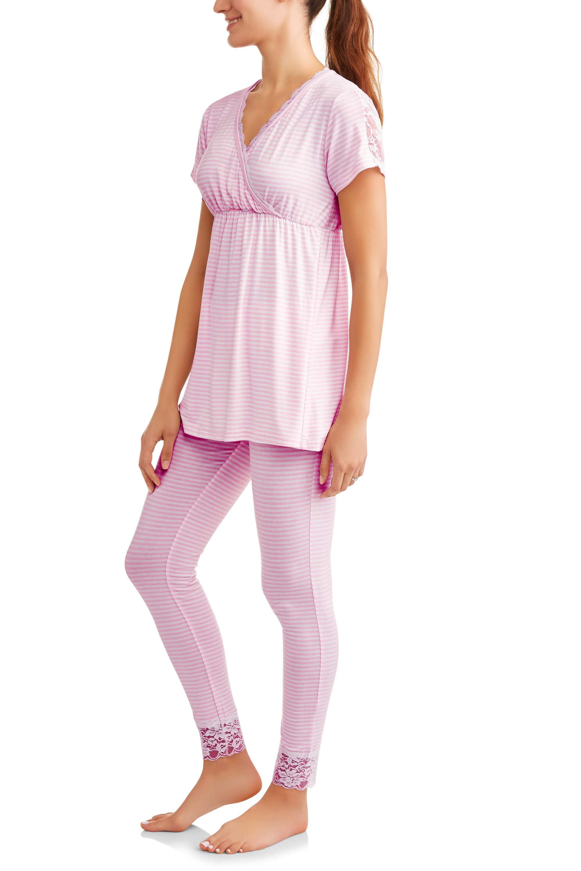 Maternity Nursing Short Sleeve Top and Pants Sleep Set