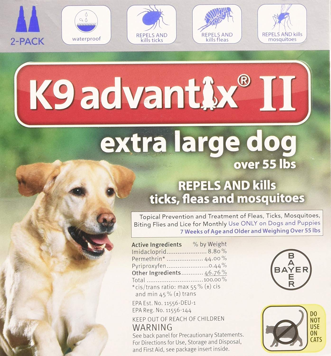 Bayer K9 Advantix II, Flea And Tick Control Treatment for Dogs, Over 55 Pound, 2-Month Supply By Bayer Animal... by