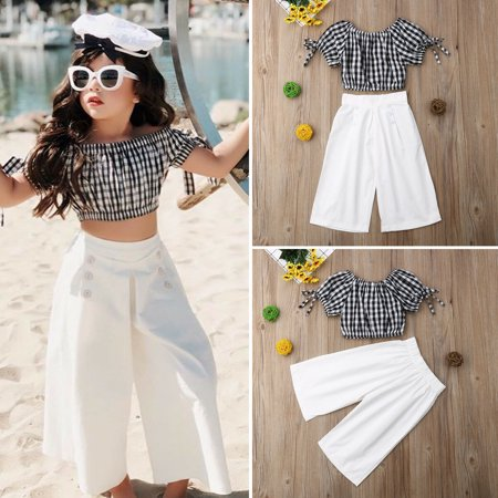 vendita outlet tra qualche giorno vasta selezione Summer Baby Girl Holiday Clothes Off Shoulder Plaids Tank Toddler Top+Long  Wide Leg Pants Summer Fashion Outfit Toddler Set