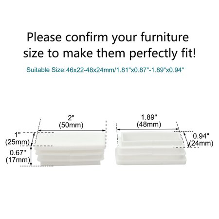 25 x 50mm Tube Inserts End Cover Furniture Chair Desk Feet Floor Protector 24pcs - image 2 de 7