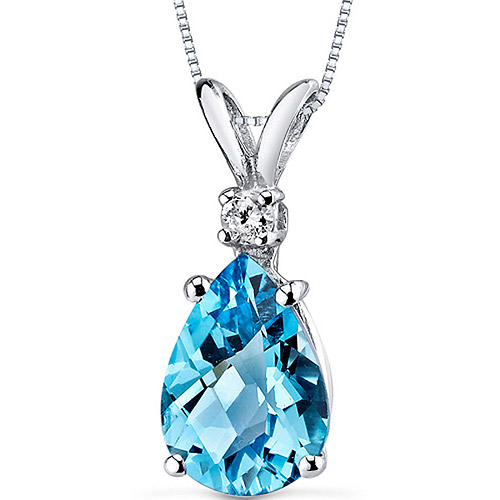 "Oravo 2.25 Carat T.G.W. Pear-Shape Swiss Blue Topaz and Diamond Accent 14kt White Gold Pendant, 18"" by Oravo"