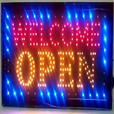 LED Neon Light Welcome Open Sign With Animation On/off and Power On/Off two Switchs for Business By