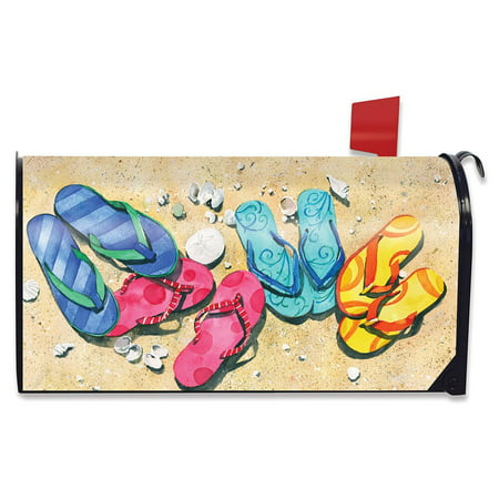 Beachy Flip Flops Summer Magnetic Mailbox Cover Nautical Seashells