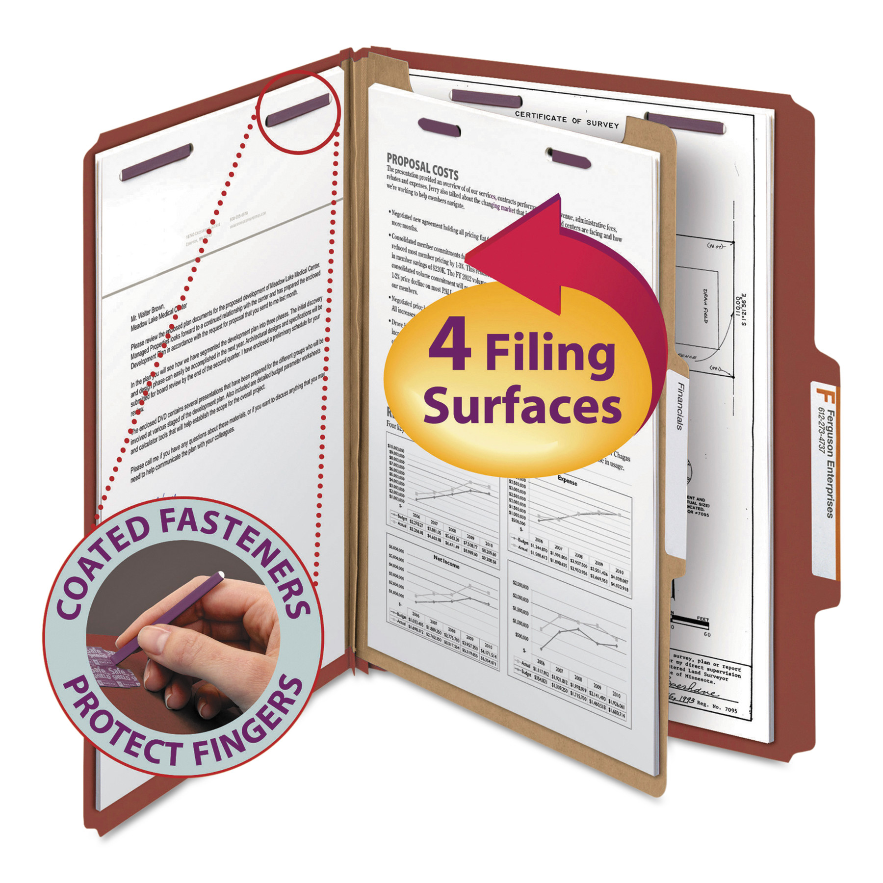 Smead Pressboard Classification Folders, Self Tab, Letter, Four-Section, Red, 10/Box -SMD13775