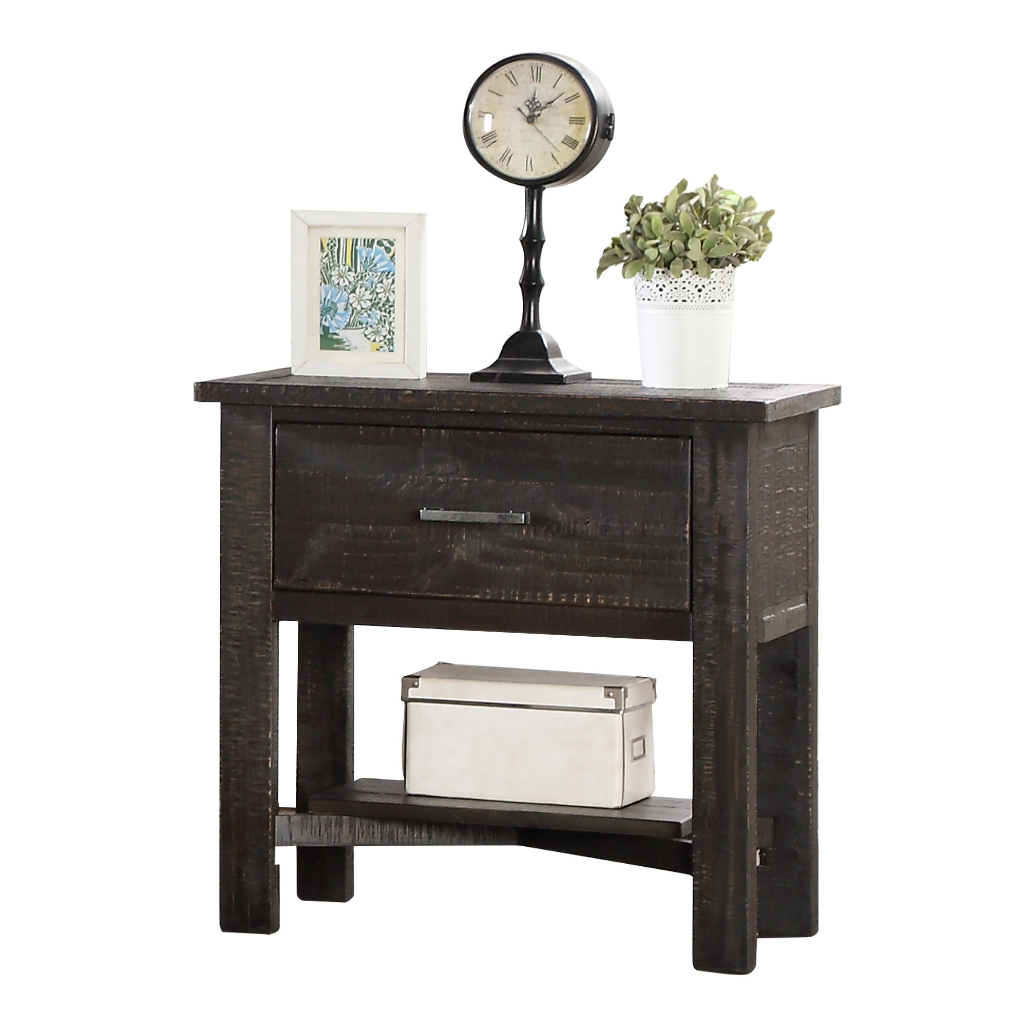 K B Furniture Rustic Wood No Tool Assembly Nightstand