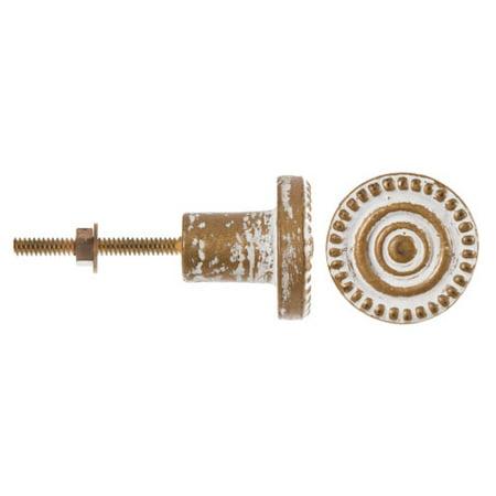 - Darice Decorative Metal Knob: Whitewashed Brass w/Concentric Circles