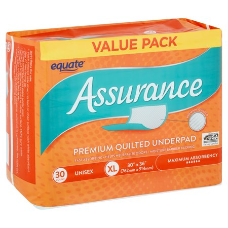 Equate Assurance Maximum Absorbency Unisex Premium Quilted Underpad Value Pack, XL, 30 count ()