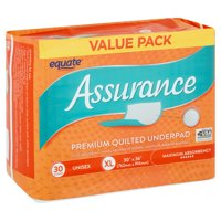 Equate Assurance Maximum Absorbency Unisex Premium Quilted Underpad Value Pack, XL, 30 count