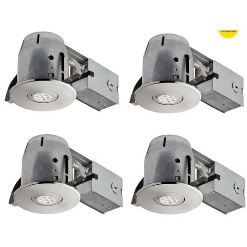 Globe Electric Company LED IC Rated Swivel Spotlight 4'' Recessed Kit (Set of 4)