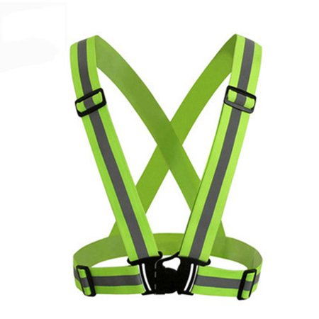 Adjustable Reflective Safety Vest, Luminous Elastic Belt for Night Running Cycling Color:Fluorescent green (Light In The Dark Belt)