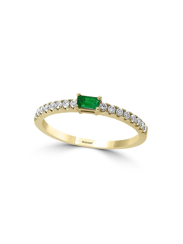 14K Yellow Gold, Diamond & Emerald Basket-Style Ring